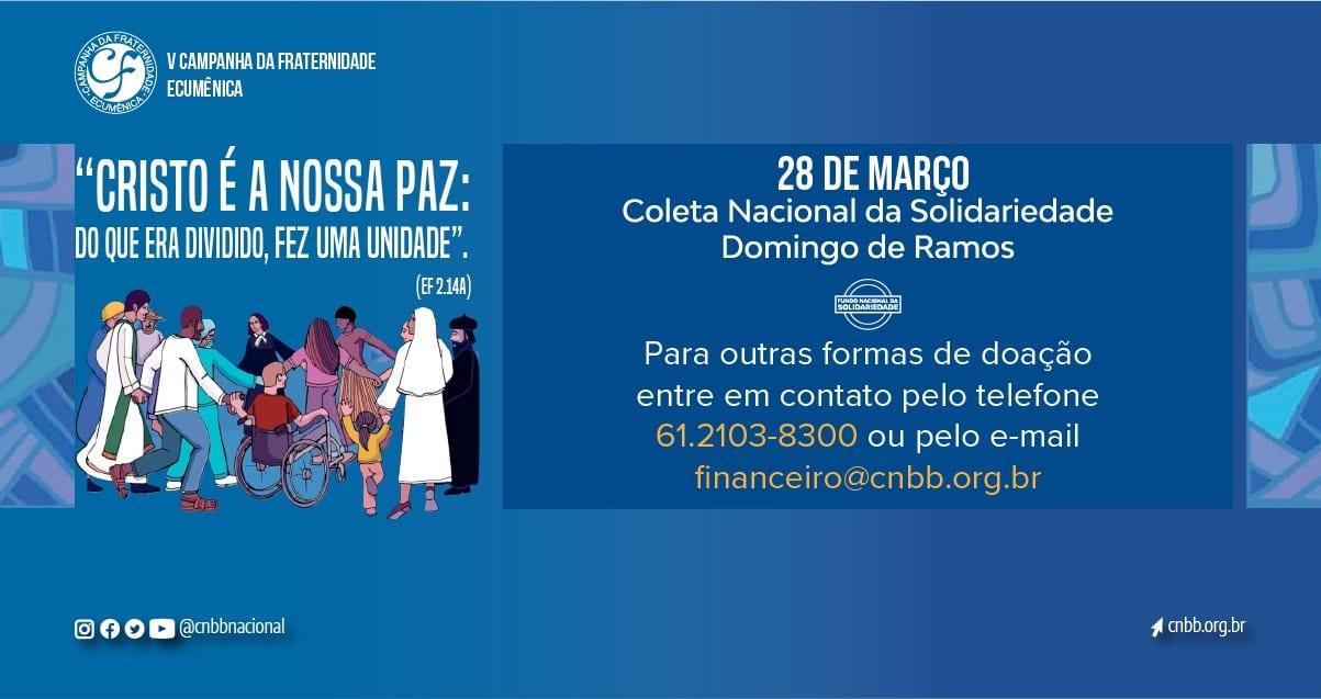 Secretário-geral da CNBB convida fiéis ao gesto concreto de doação à Coleta de Solidariedade no Domingo de Ramos