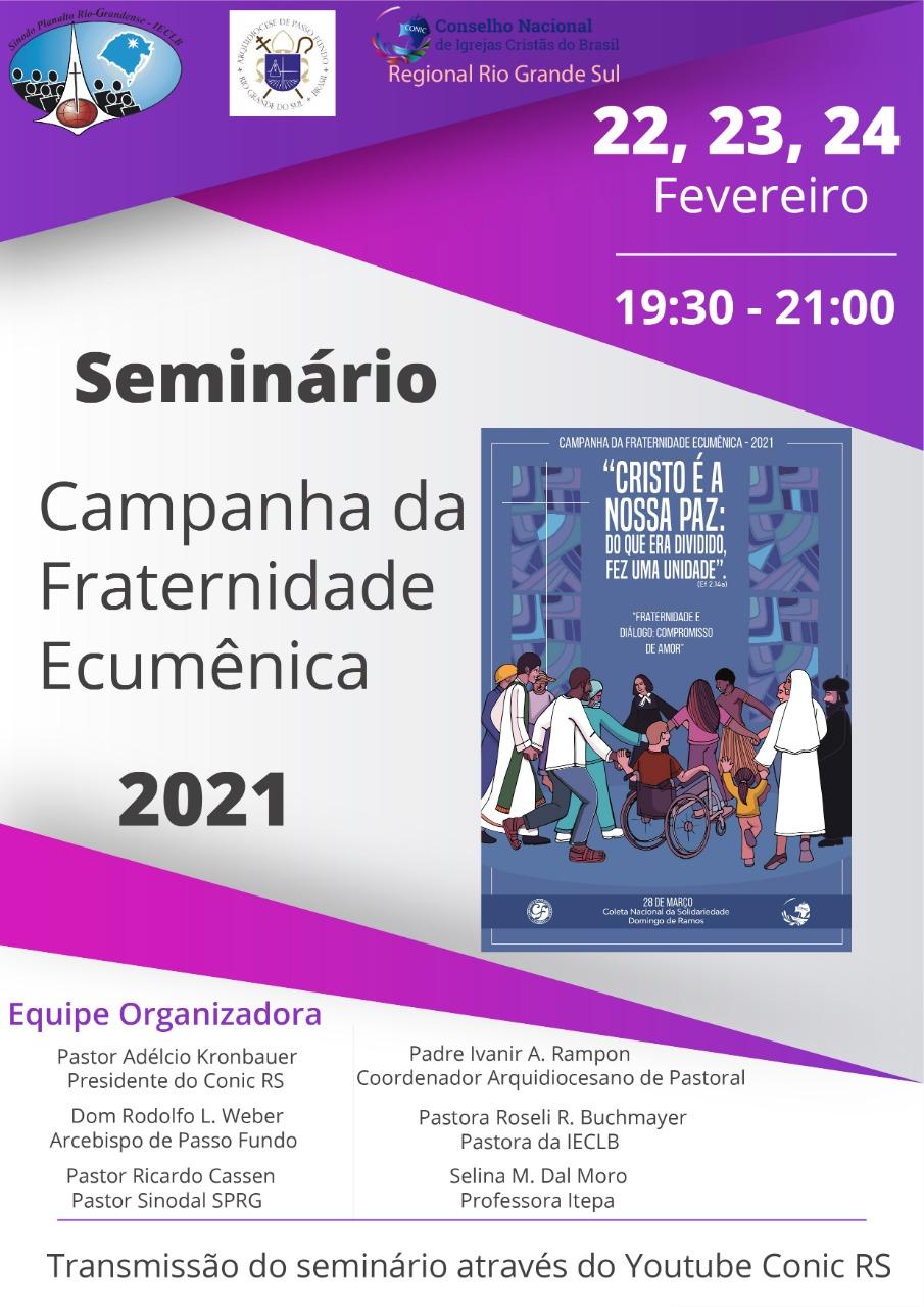 Começa hoje o eminário da Campanha da Fraternidade Ecumênica 2021
